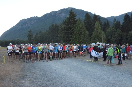 """The starting line with the first """"hill"""" above us"""